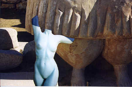 Bridgit at Tarxien with a duplicate of the large goddess statue, Malta, 1999 copyright Pam Mendelsohn