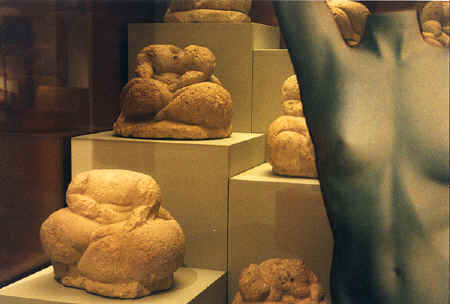 "Bridgit with the headless ""fat"" statues at the National Museum of Archeology, Malta, 1999 copyright Pam Mendelsohn"